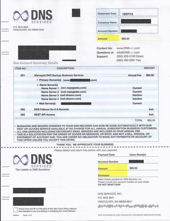 domain name services scam letter dns services invoice scam